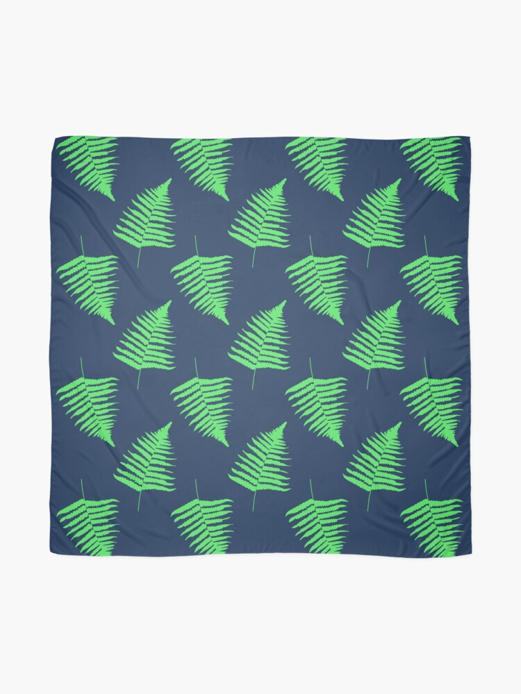 Alternate view of Navy and Lime Fern Pattern Scarf