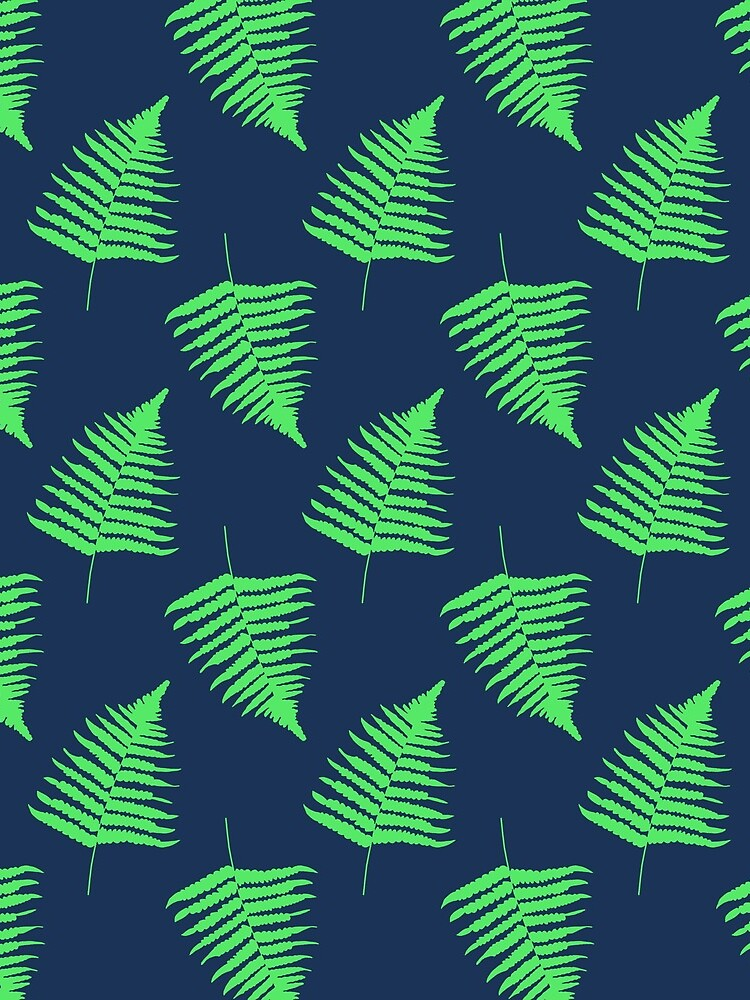 Navy and Lime Fern Pattern by GillianAdams