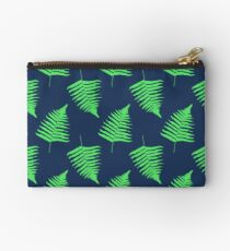 Navy and Lime Fern Pattern Studio Pouch