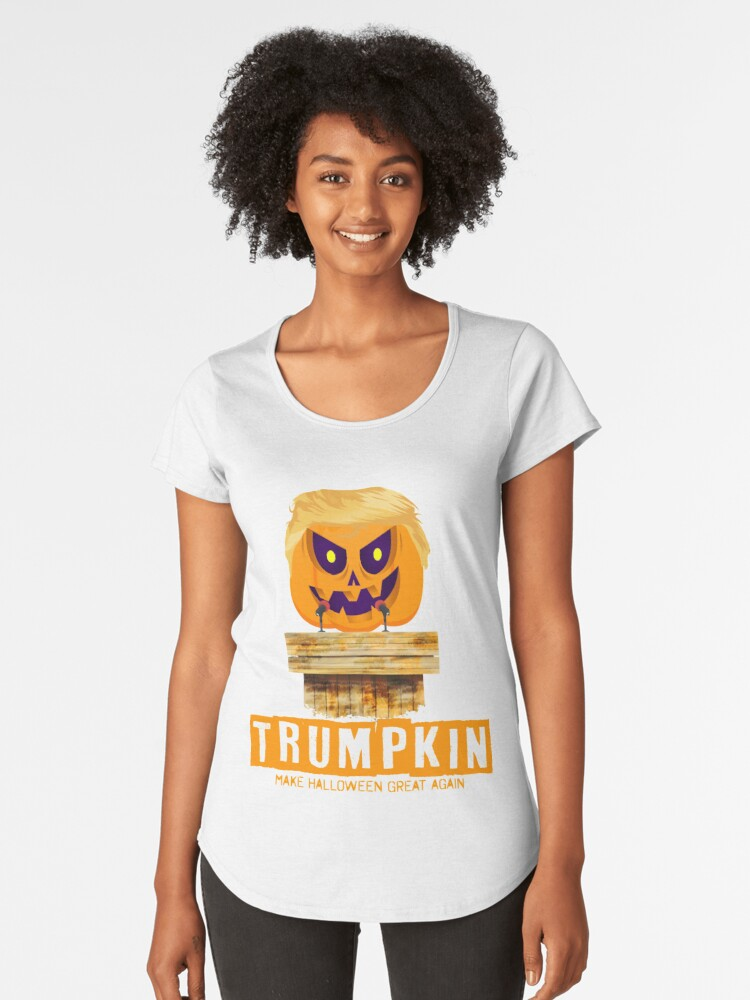 137a9b33f Halloween Trumpkin Make Halloween Great Again Gift T-Shirt Premium Scoop T- Shirt