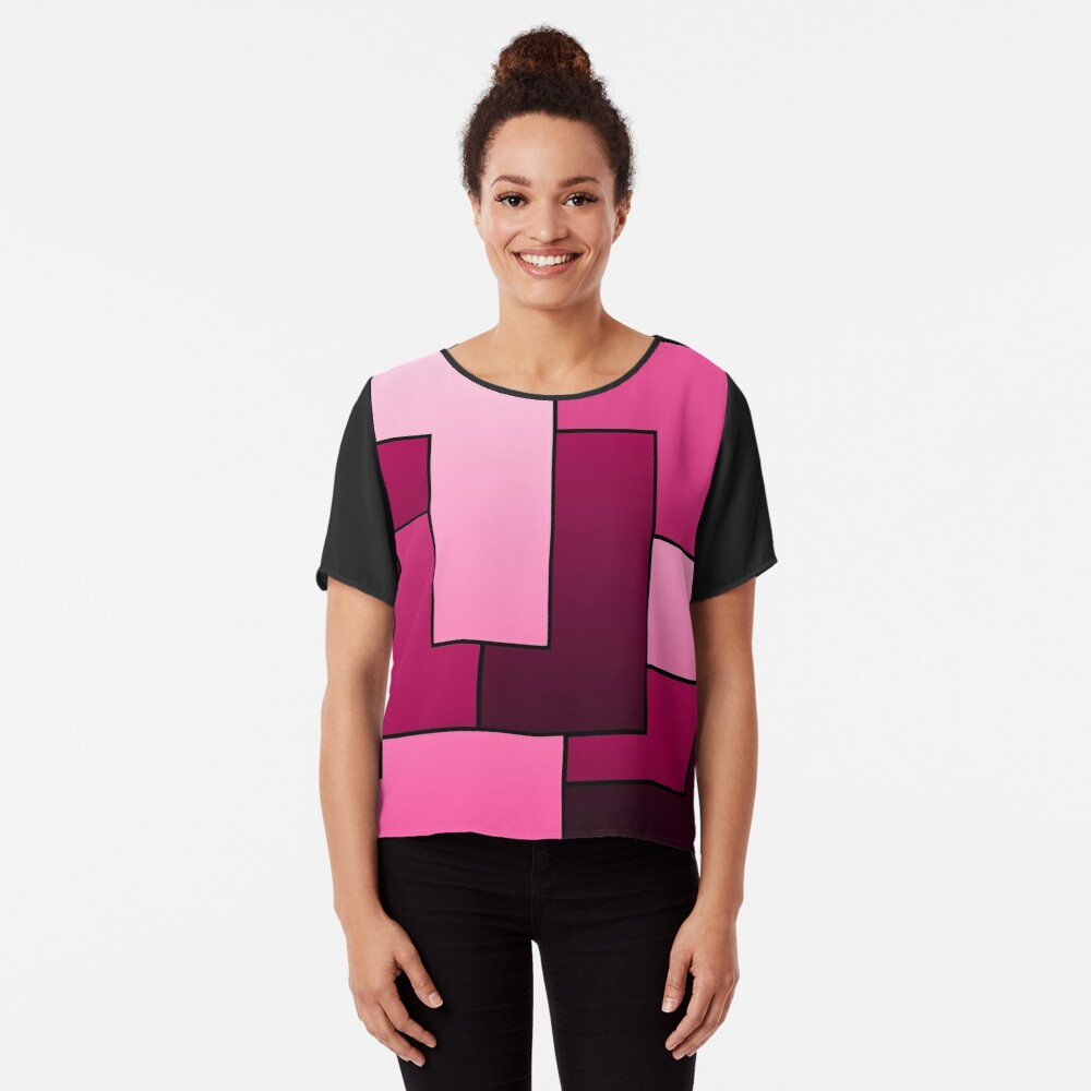 Cherry Red and Hot Pink Big Bold Geometric Rotating Rectangle Shapes Pattern Women's Chiffon Top Front