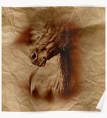 Water Colour Paint Horse - Crumpled Brown Grocery Bag Paper Texture Poster