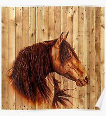 Water Colour Paint Horse - Rustic Wood Texture Poster