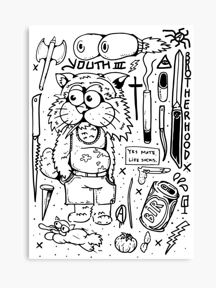 El punk cat - traditional black tattoo flash set   Canvas Print