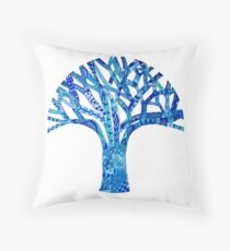 Blue Tree of Intuiton Throw Pillow