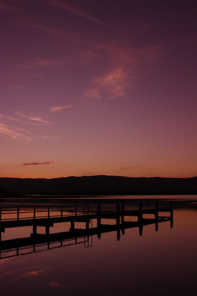 Oak Flats Sailing Club Jetty - Sunset by Stephen Jarrett