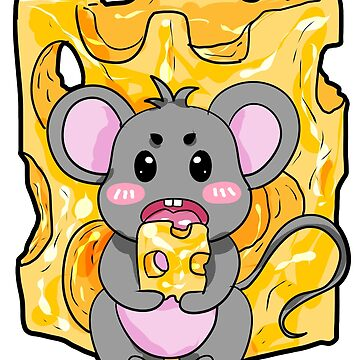 Mouse Cheese Party Cartoon Gift Present Boy Girl by Moonpie90