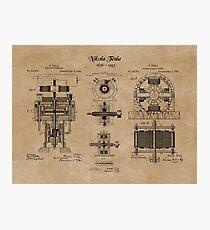 Nikola Tesla Electric Generator Inventions Patent Blueprints Photographic Print