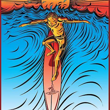SURFING SUNSET BEACH OAHU HAWAII by theoatman