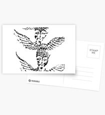 Black & White Abstract Angels Postcards