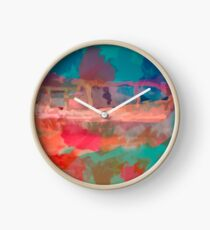 Abstract Laundry Boat in Blue, Green, Orange and Pink Clock