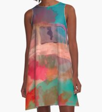 Abstract Laundry Boat in Blue, Green, Orange and Pink A-Line Dress