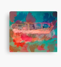 Abstract Laundry Boat in Blue, Green, Orange and Pink Canvas Print