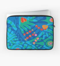 Colorful Tropical Print Abstract in Blue and Green Laptop Sleeve