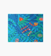 Colorful Tropical Print Abstract in Blue and Green Art Board