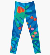 Colorful Tropical Print Abstract in Blue and Green Leggings