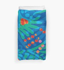 Colorful Tropical Print Abstract in Blue and Green Duvet Cover