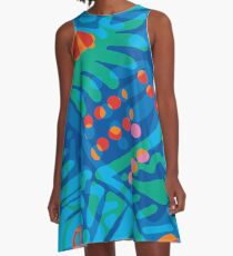 Colorful Tropical Print Abstract in Blue and Green A-Line Dress