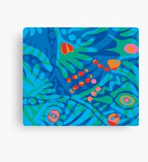Colorful Tropical Print Abstract in Blue and Green Canvas Print