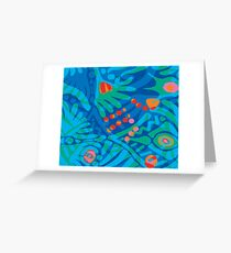 Colorful Tropical Print Abstract in Blue and Green Greeting Card