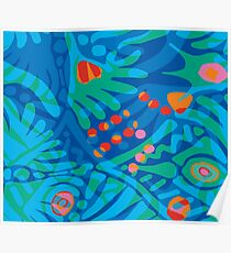 Colorful Tropical Print Abstract in Blue and Green Poster
