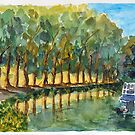 Canal de Garonne - France - Water Colour by Paul Gilbert