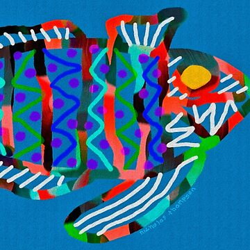 Colorful Abstract Fish in Yellow and Black  by ntartworks