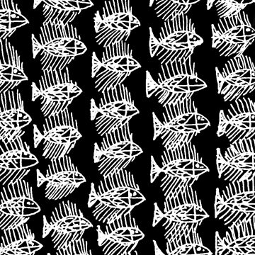 White and Black Abstract Fish by ntartworks