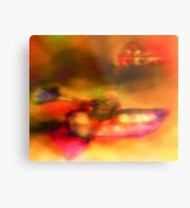Row Boat in Yellow, Pink and Purple Metal Print