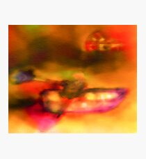 Row Boat in Yellow, Pink and Purple Photographic Print