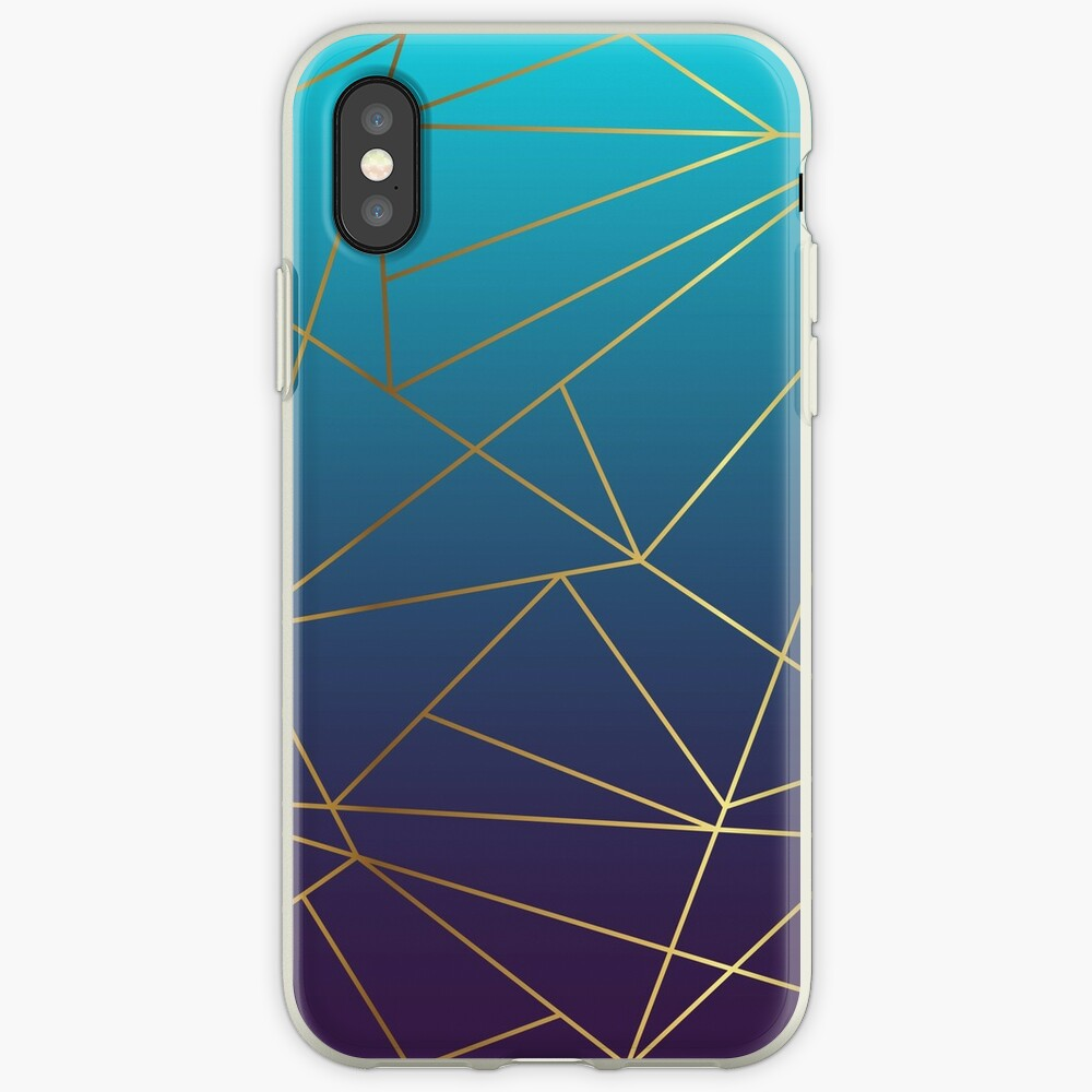 Teal, Mauve and Gold Metallic Geometric Design iPhone Case & Cover