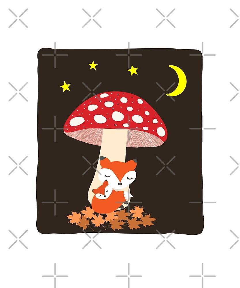 Cute Fox Animals Sleeping Under Mushroom Color by TinyStarAmerica