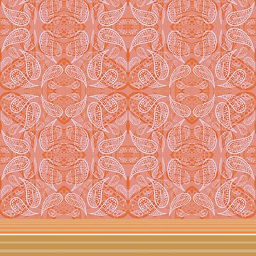 Peach Primitive Paisley and Stripes by jocelynsart
