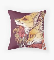Red Fox Bloom Throw Pillow