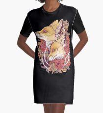 Red Fox Bloom Graphic T-Shirt Dress
