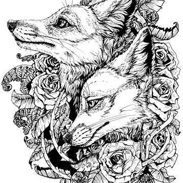 Fox Bloom - Black and White by plaguedog