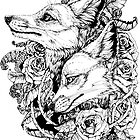 Fox Bloom - Black and White by Kellie Lamphere