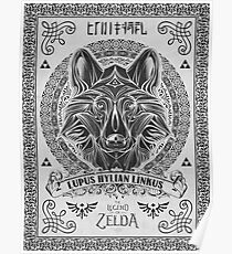 Legend of Zelda Twilight Princess Wolf Link Line Artly  Poster