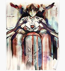 Shinji Evangelion Anime Tra Digital Painting  Poster