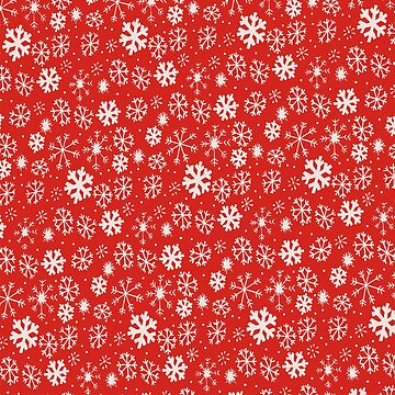 Snowflake Snowstorm With Poppy Red Background by taiche