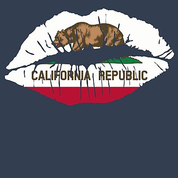 California Republic Flag Lipstick Kiss Lip Art by cnkna
