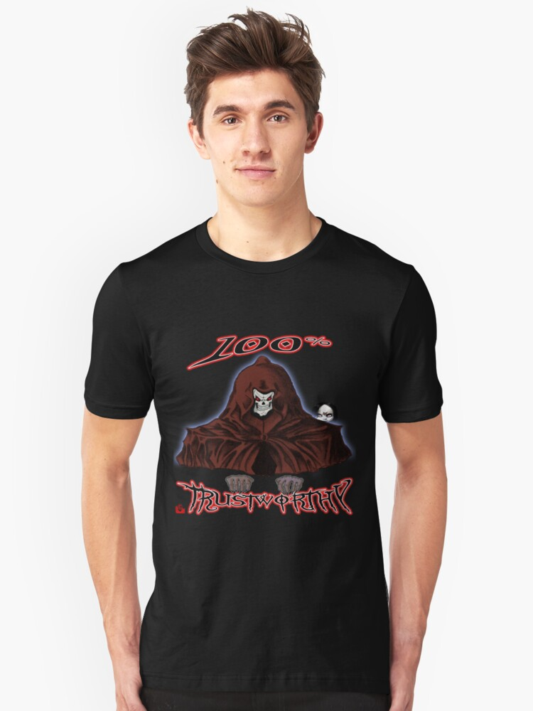 GRIM REAPER AND SIDE KICK/ 100% TRUSTWORTHY Unisex T-Shirt Front