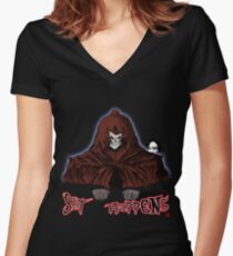 GRIM REAPER AND SIDE KICK/ SHIT HAPPENS Women's Fitted V-Neck T-Shirt