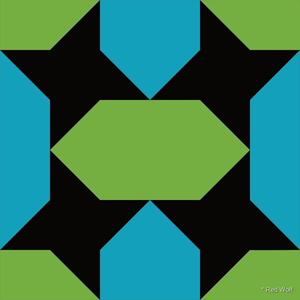 Geometric Pattern: Star Lozenge: Blue/Green by * Red Wolf