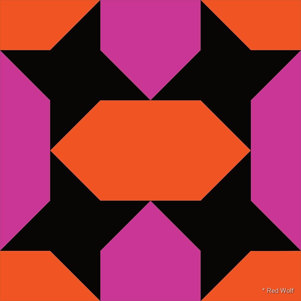 Geometric Pattern: Star Lozenge: Orange/Pink by * Red Wolf