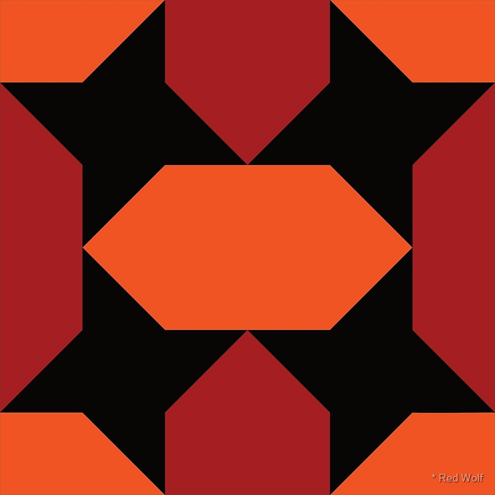 Geometric Pattern: Star Lozenge: Orange/Red by * Red Wolf