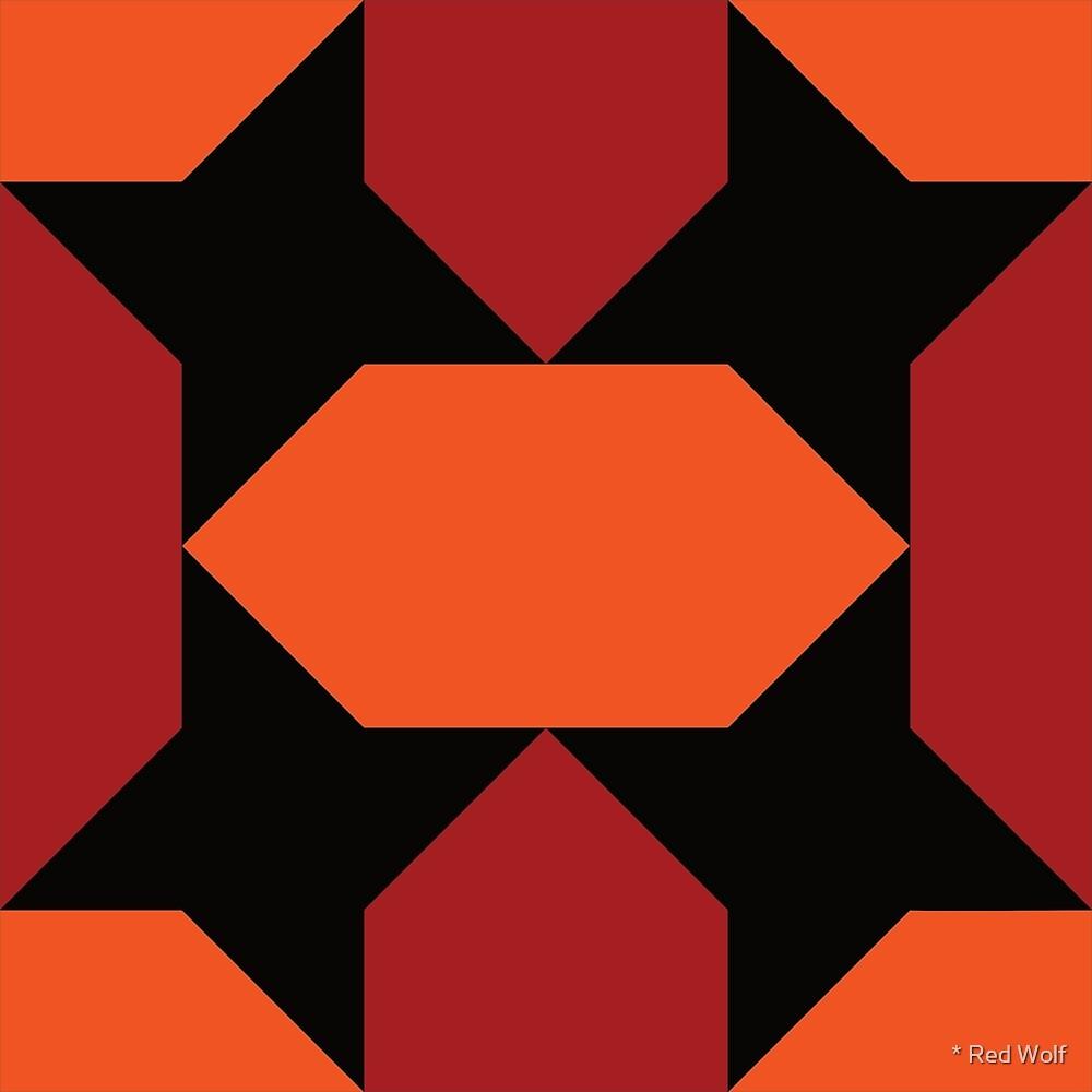 Geometric Pattern: Star Lozenge: Orange/Red by * Red Wolf