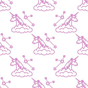 Pattern with magic unicorn, stars, clouds. by aquamarine-p