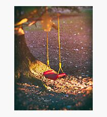 Red swing in the setting sun Photographic Print