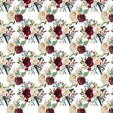 Burgundy ivory green watercolor boho floral pattern by Kicksdesign
